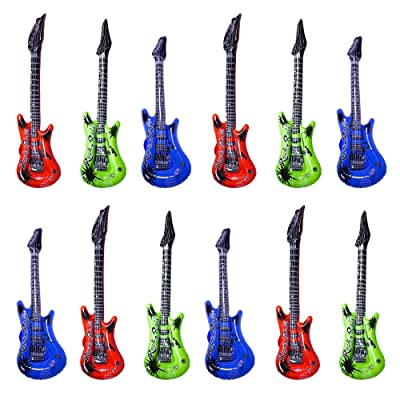 "Inflatable Guitars - 22"" Multi - Color, 12 Pack: Toys & Games"