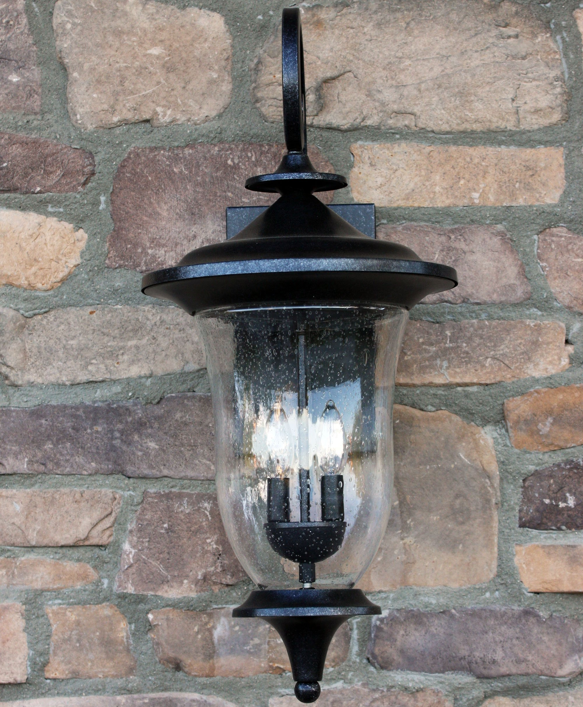 Y Decor EL8001ST-2L Modern, Transitional, Traditional, Rustic 2 Light Exterior Outdoor Wall Sconce Brownstone with Clear Seedy Glass Large Size By Y Décor, , Stone, Charcoal, Black