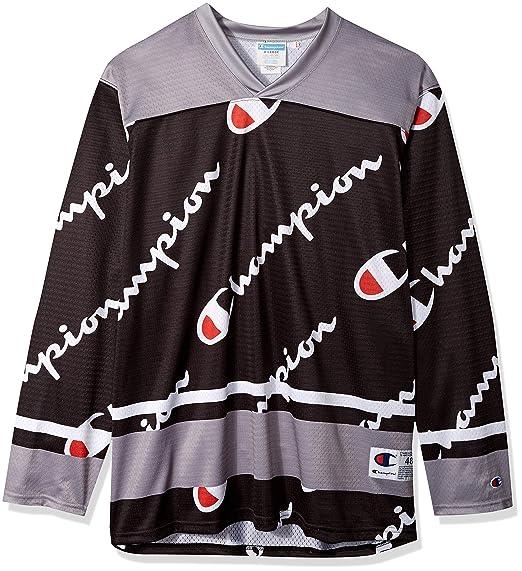7be074ca1c65 Champion LIFE Men's Hockey Jersey, Black AOP Script, 3X Large: Amazon.co.uk:  Clothing