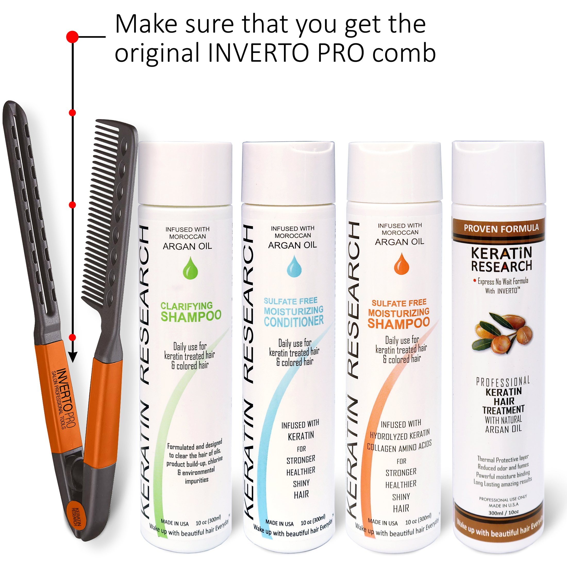 Brazilian Keratin Blowout Hair Treatment 4 Bottles 300ml Value Kit Includes Sulfate Free and Easy Comb by Keratin Research (Image #1)
