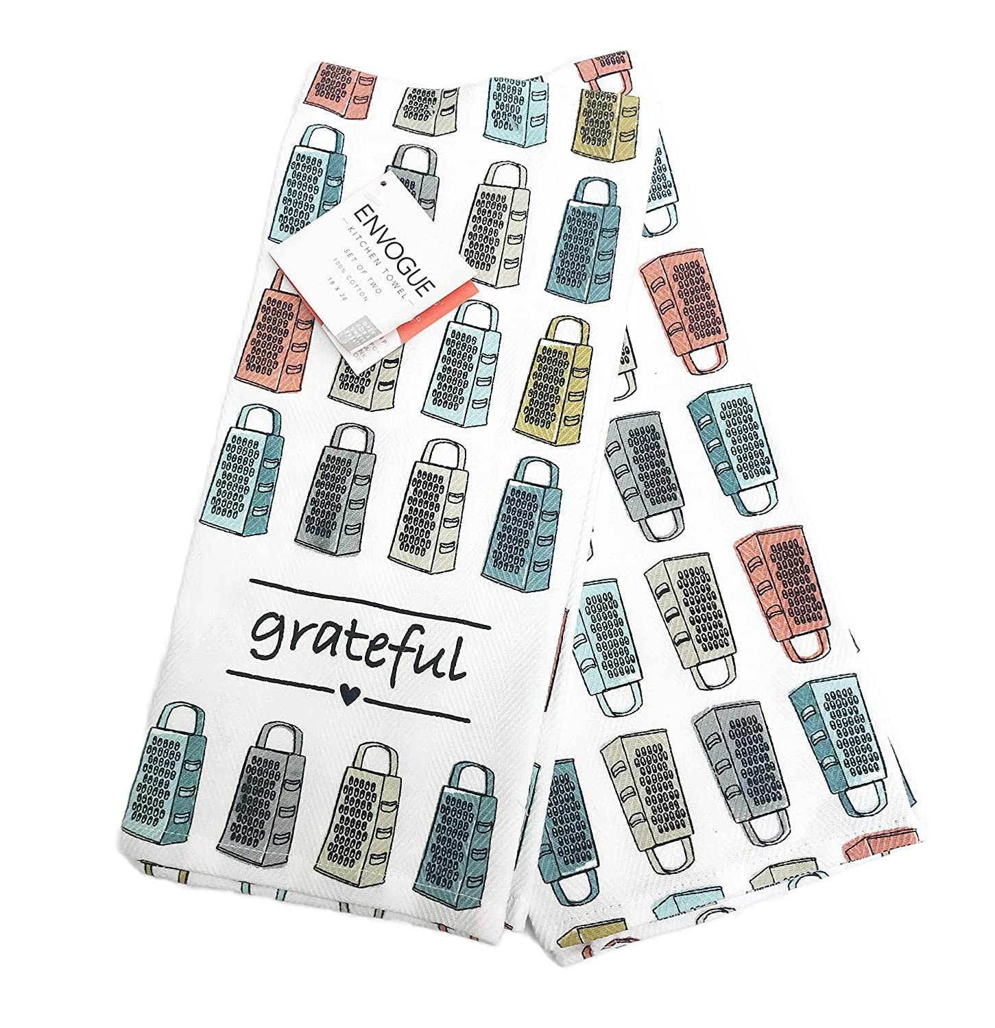ENVOGUE Be Grateful Colorful Cheese Graters Set of Two Decorative Kitchen Fall Hand Towels