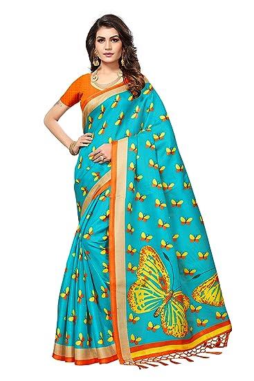 2bcf80a2f7 Tadla Enterprises Women's Butterfly Print Khadi Jute Silk Saree in Sky  Blue: Amazon.in: Clothing & Accessories
