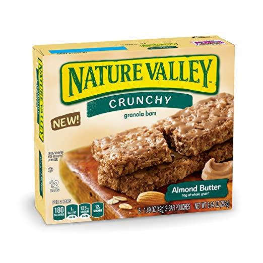 Nature Valley Almond Butter Crunchy Granola Bars, 6 bar pouches, 8.94 oz
