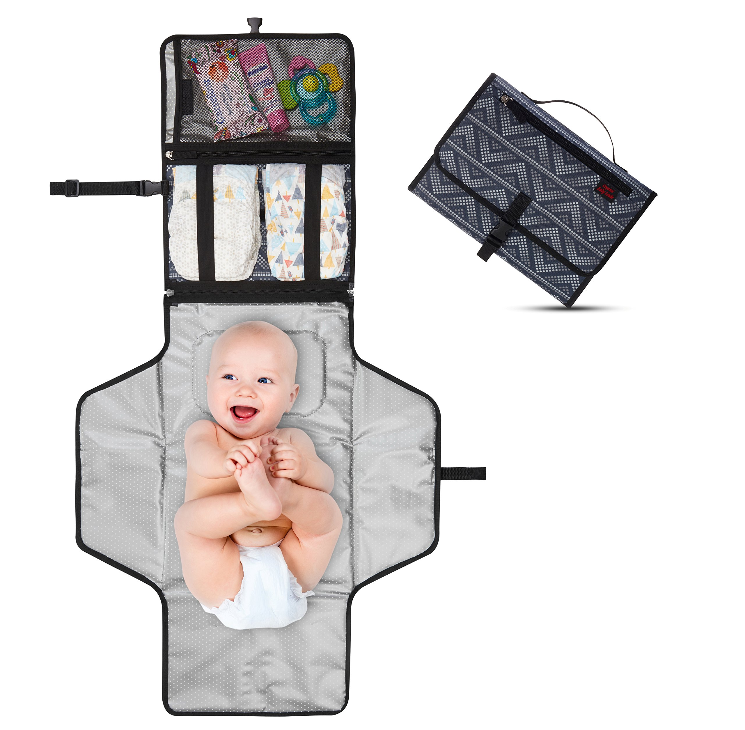 Crystal Baby Smile Portable Changing Pad - Diaper Clutch - Lightweight Travel Station Kit for Baby Diapering - Entirely Padded, Detachable and Wipeable Mat - Mesh and Zippered Pockets - Gray Dots
