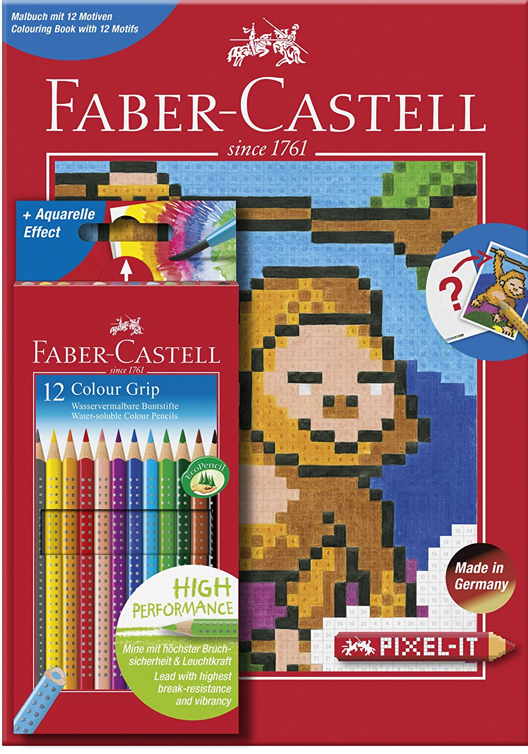 Faber Castell 201571 Pixel It Colouring Book With 12 Colour