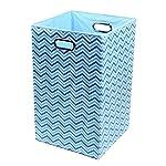 Modern Littles Laundry Basket Sky Zig Zag, Blue
