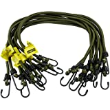 10 pack Heavy Duty Olive Elastic Military Bungee Cords Basha Bivvy Bivi - Olive Green Savage Island Branded