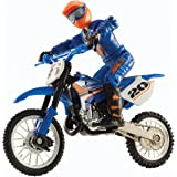 Hot Wheels Moto X No.20 Rider and Black Bike Figure, Blue