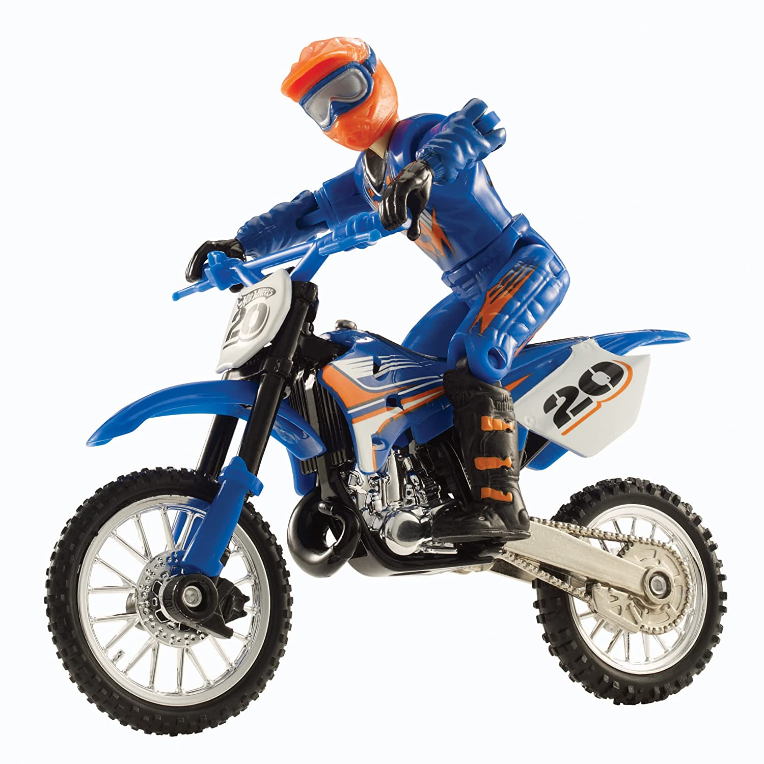 hot wheels moto x rider and black bike figure blue. Black Bedroom Furniture Sets. Home Design Ideas