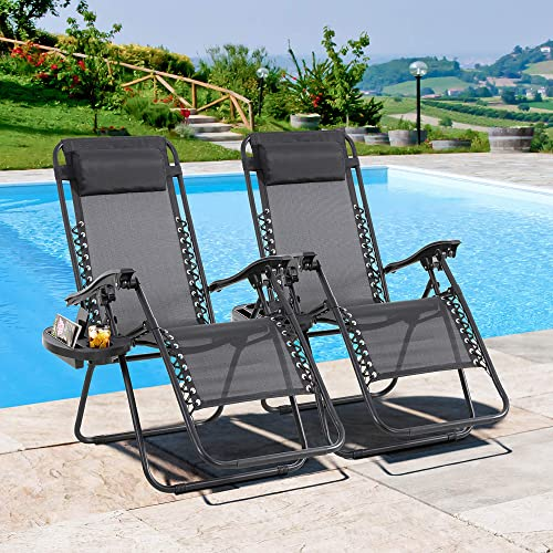 JY QAQA Set of 2 Outdoor Adjustable Zero Gravity Chair