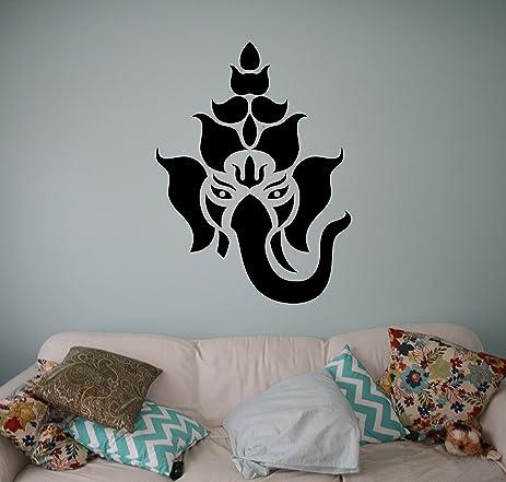 Hindu God Ganesha Wall Decal Elephant Lotus Vinyl Sticker Hinduism - Custom vinyl decals india