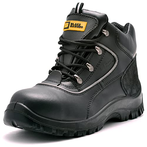 Black Hammer Mens Leather Safety Boots Mens Safety Boots S3 Steel Toe Cap  Work Shoes Ankle