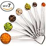 Palada All in One Set of 7, 430 Stainless Steel Engraved Measuring Spoons with Stainless Ring Holder and 10000 Recipes EBook