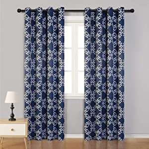 MYSKY HOME Morrocan Thermal Insulated Blackout Curtain 95 Inch Length, Grommet Room Darkening Window Curtains for Living Room,Bedroom,52 inches x 95 inches,Navy Blue,2 Panels