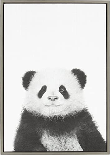 Kate and Laurel Sylvie Panda Animal Print Black and White Portrait Framed Canvas Wall Art