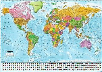Póster XXL Mapa del mundo con banderas - Versión 2018 (140cm x ...