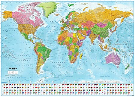 amazon world map with flags xxl poster 2018 maps in minutes