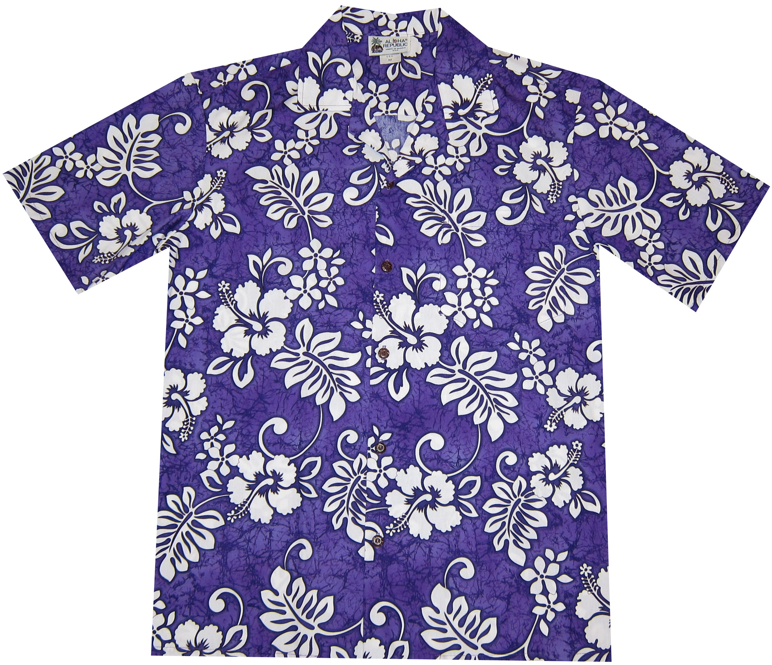 Hawaiian Islands Hibiscus Plumeria Aloha Shirt Uniform (XL, Purple)