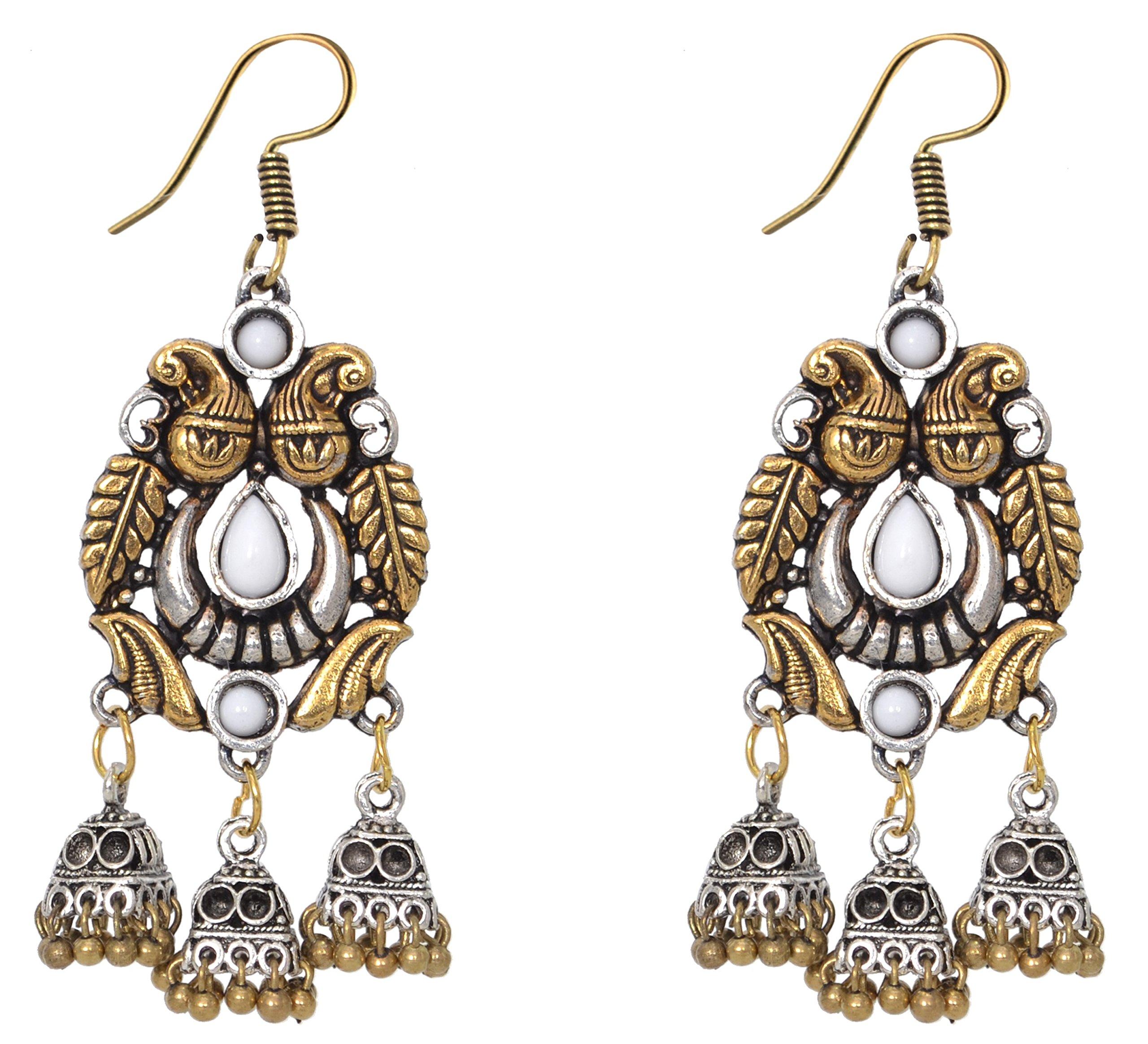 Sansar India Oxidized Dual Tone Triple Jhumka Indian Earrings Jewelry for Girls and Women