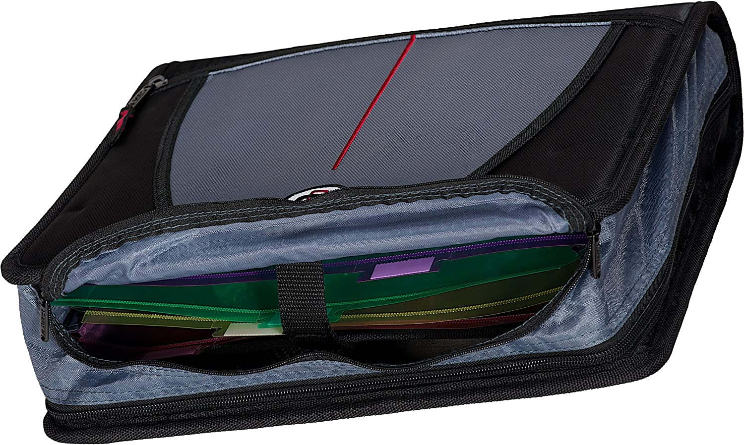 """Zipper Binder 3 Ring 2 Inch with Built in Handle and Shoulder Strap 13x2.8x12 /"""""""