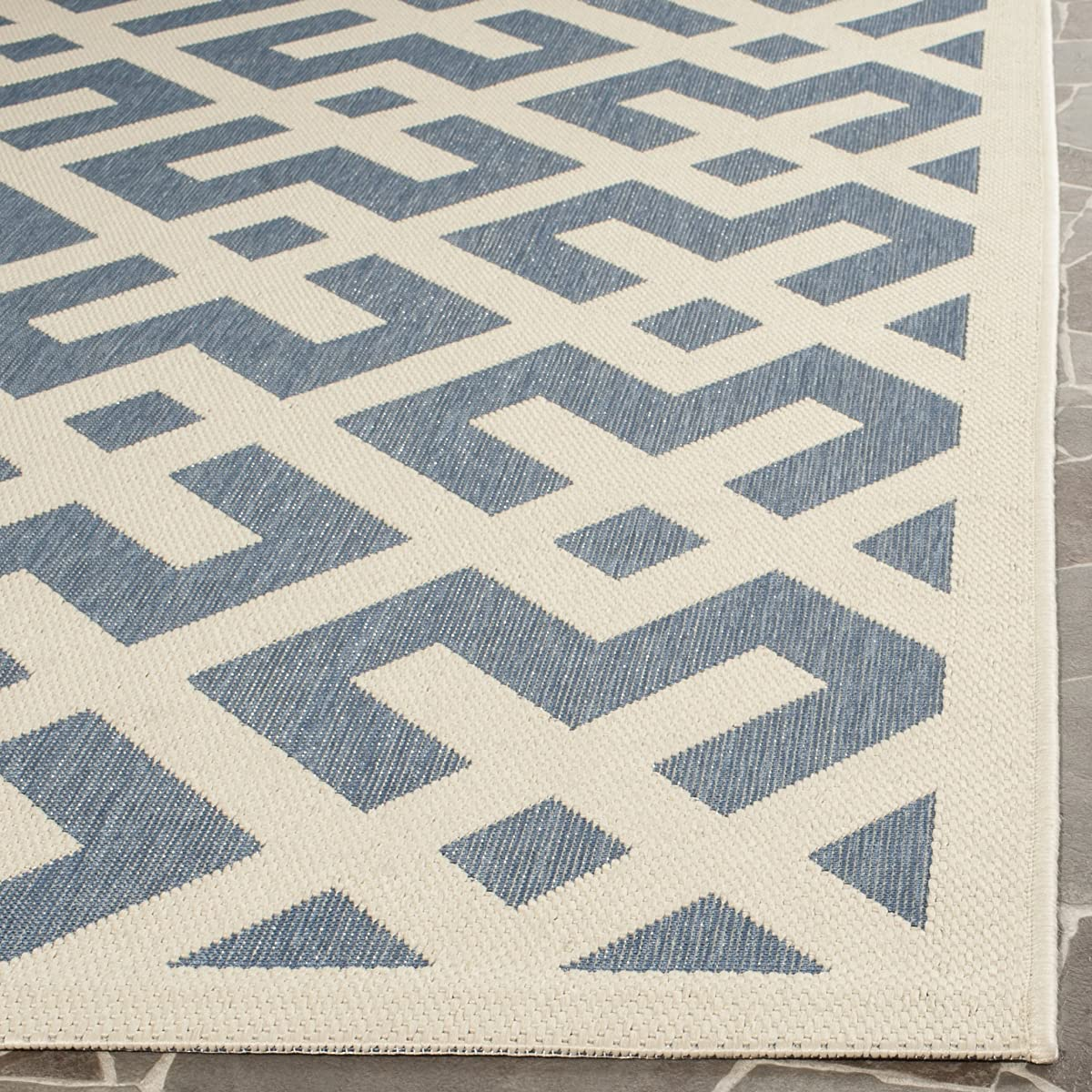 "Safavieh Courtyard Collection CY6915-233 Blue and Bone Indoor/ Outdoor Square Area Rug (67"" Square)"