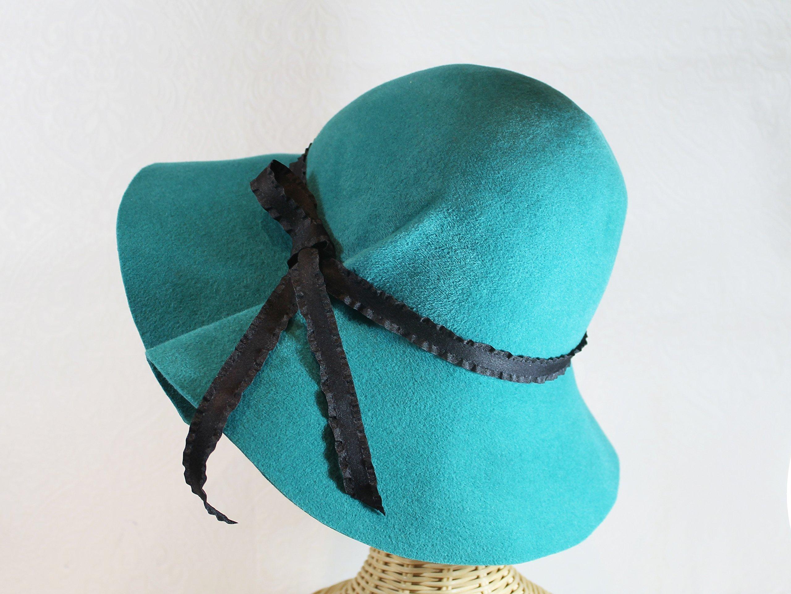 Women's Wide Brim Marlene Hat in Turquoise Velour Felt