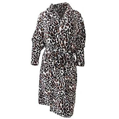 Ladies/Womens Leopard Print Super Soft Robe Dressing Gown (Large ...