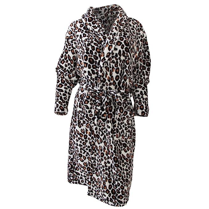 Bata Suave con Estampado de Leopardo y Capucha para Mujer/señora (Mediana (M