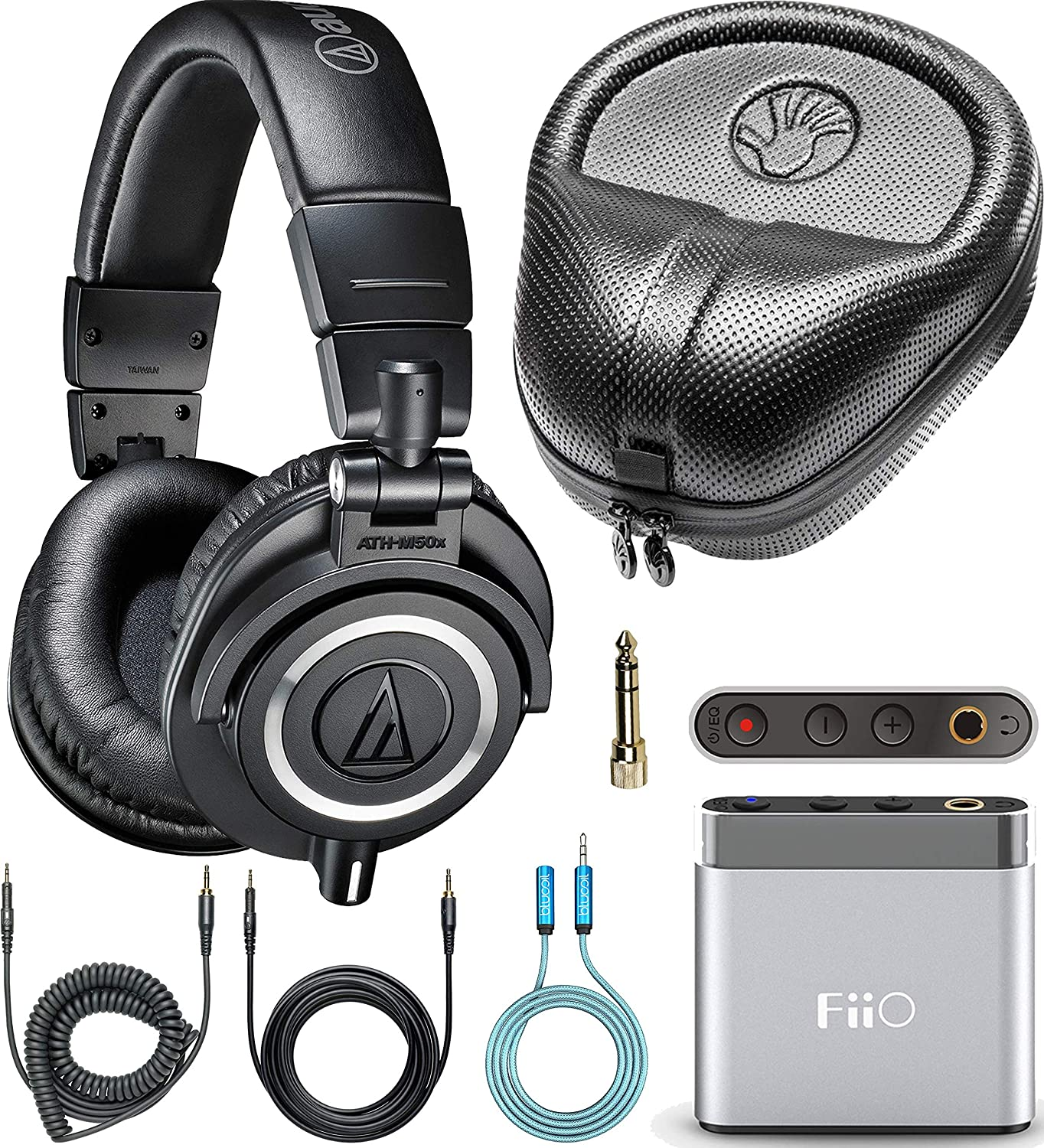 Audio-Technica ATH-M50x Closed Back Headphones Bundle with FiiO A1 Portable Headphone Amplifier (Silver), SLAPPA Full Sized Hardbody PRO Headphone Case and Blucoil 3.5mm Audio Extension Cable