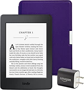 """Kindle Paperwhite Essentials Bundle including Kindle Paperwhite 6"""" E-Reader  (Previous Generation - 7th), Black with Special Offers, Amazon Leather Cover - Royal Purple, and Power Adapter"""