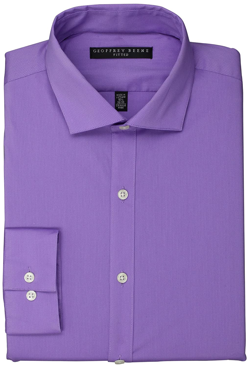 Geoffrey Beene Mens Fitted Twill Solid Ice Lilac 17 Neck 32 33