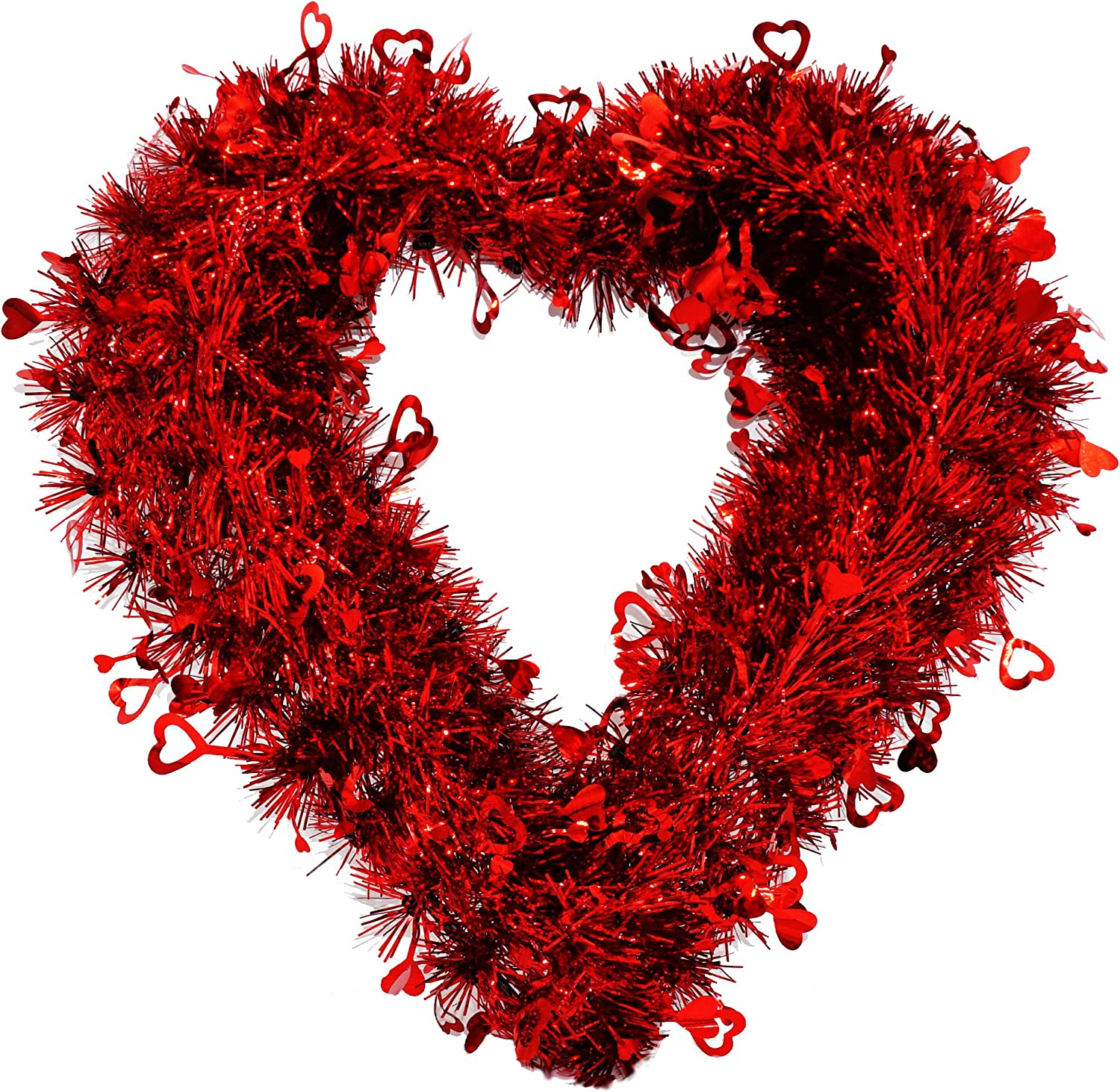 4E's Novelty Valentine's Day Wreath for Front Door, Tinsel Heart Shaped Wreath Hanging Wall Decorations - 14 Inches, Valentines Outdoor Décor