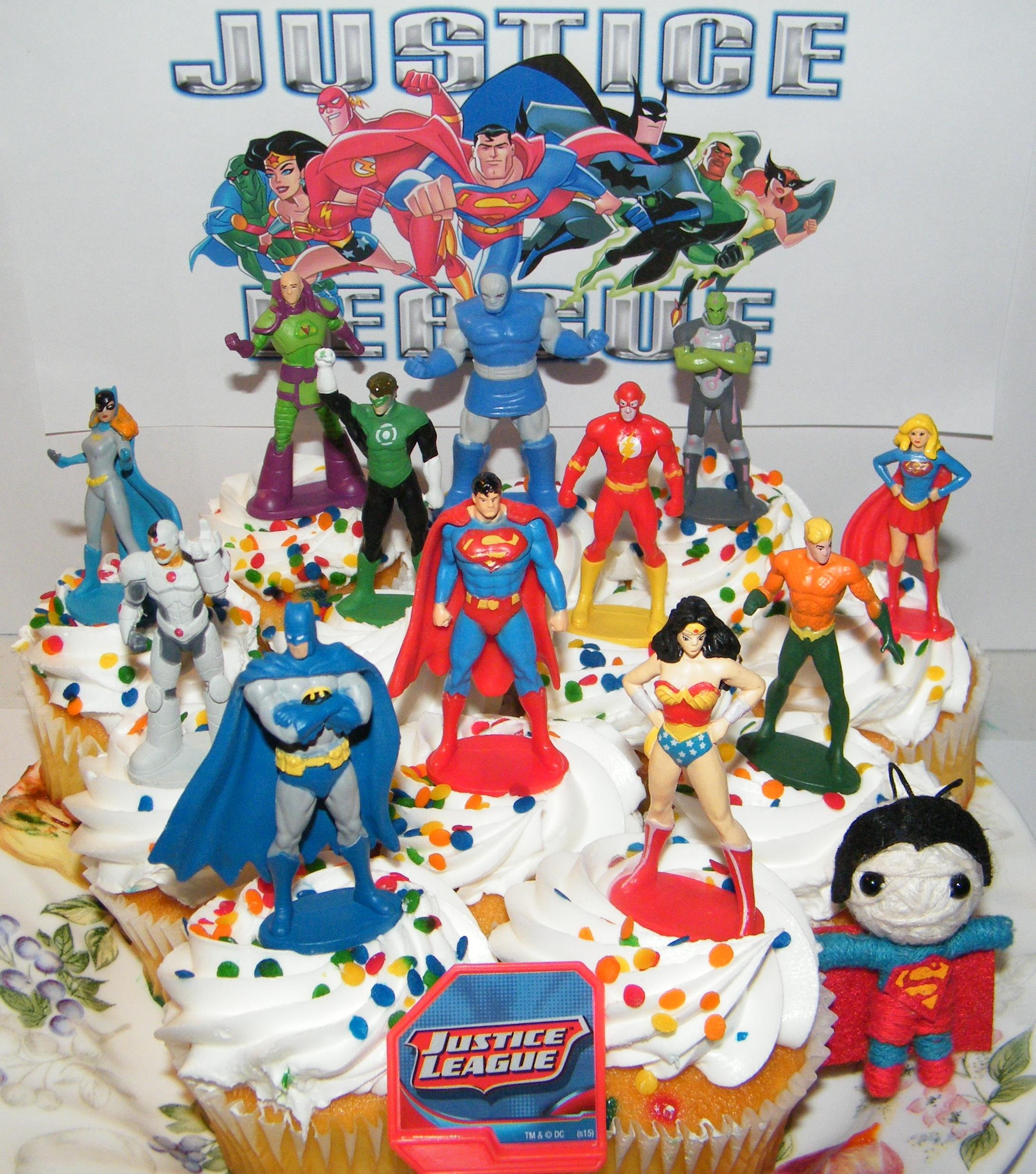 Justice League Deluxe Cake Toppers Cupcake Decorations Set of 14 with 12 Figures, DC Doll, JL ToyRing featuring Batman, Superman, Wonder Woman, Darkseid Etc. by Super Hero