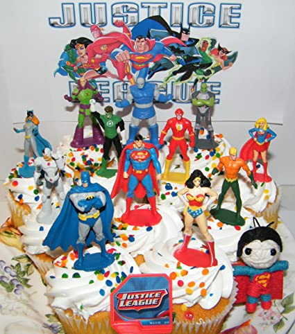 Justice League Deluxe Cake Toppers Cupcake Decorations Set Of 14 With 12 Figures Dc Doll Jl Toyring Featuring Batman Superman Wonder Woman