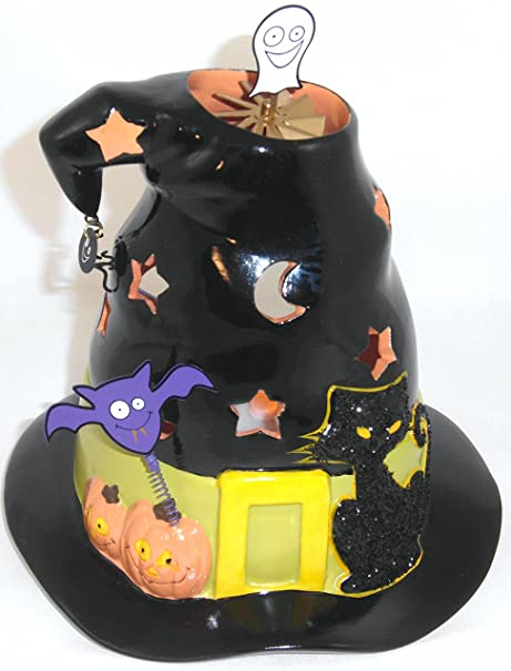 1 a partylite p9959 candle holder halloween witches hat tealight house magic hat porcelain