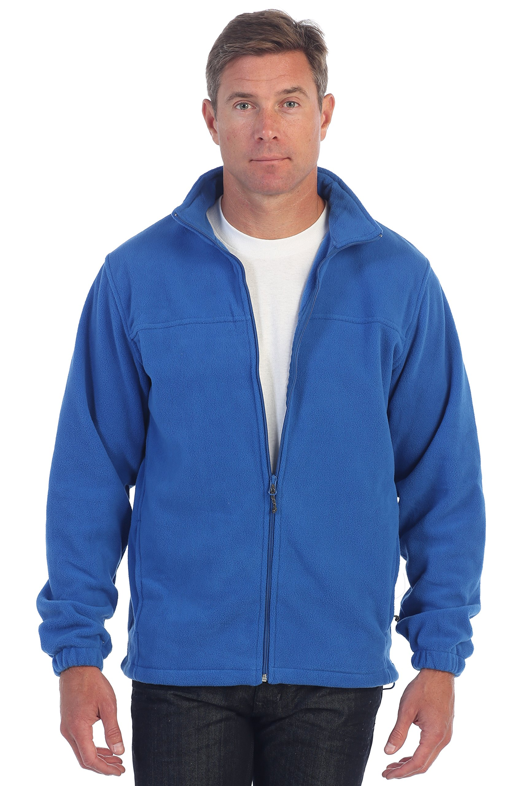 Gioberti Mens Full Zip Polar Fleece Jacket, Royal Blue, X-Large
