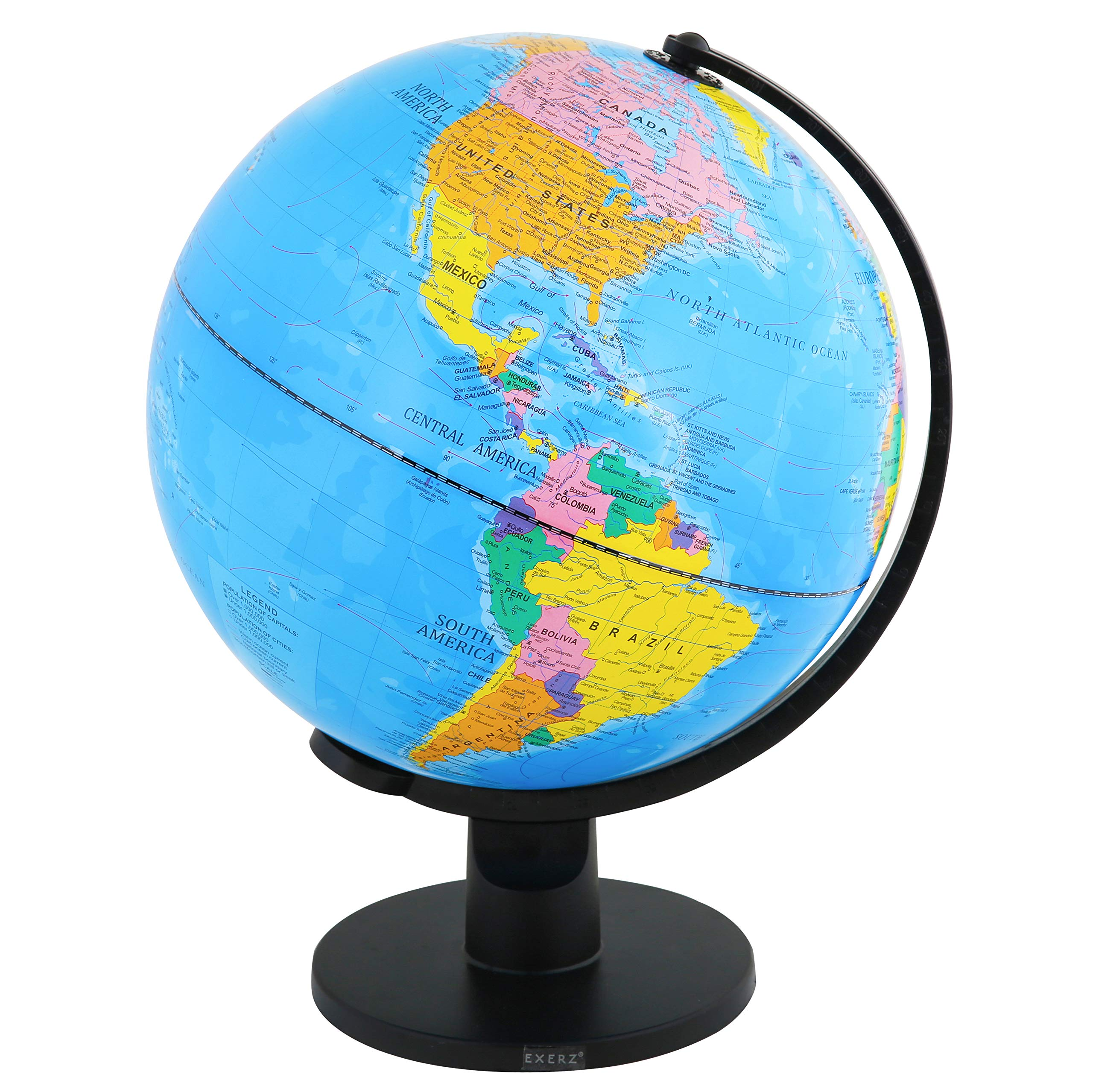 Exerz Classic Globe Educational Swivel (X-Large 12'' / 30cm Diameter) - Up-to-Date Political Desktop World Globe with Stand - Blue Ocean Black Base Full Earth Geography - for Kids and Adults by Exerz