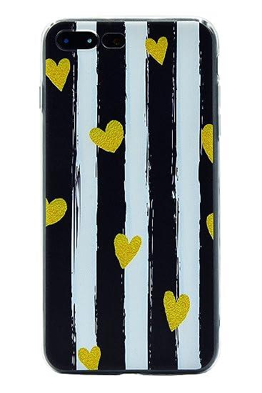 wholesale dealer b5874 fc355 AlphaCell, Designer iPhone 7 Plus / 8 Plus Case | Sleek Pastel Matte Black  & White Vertical Charlotte Striped (Artsy Lovely Cute Mini Yellow Hearts) |  ...