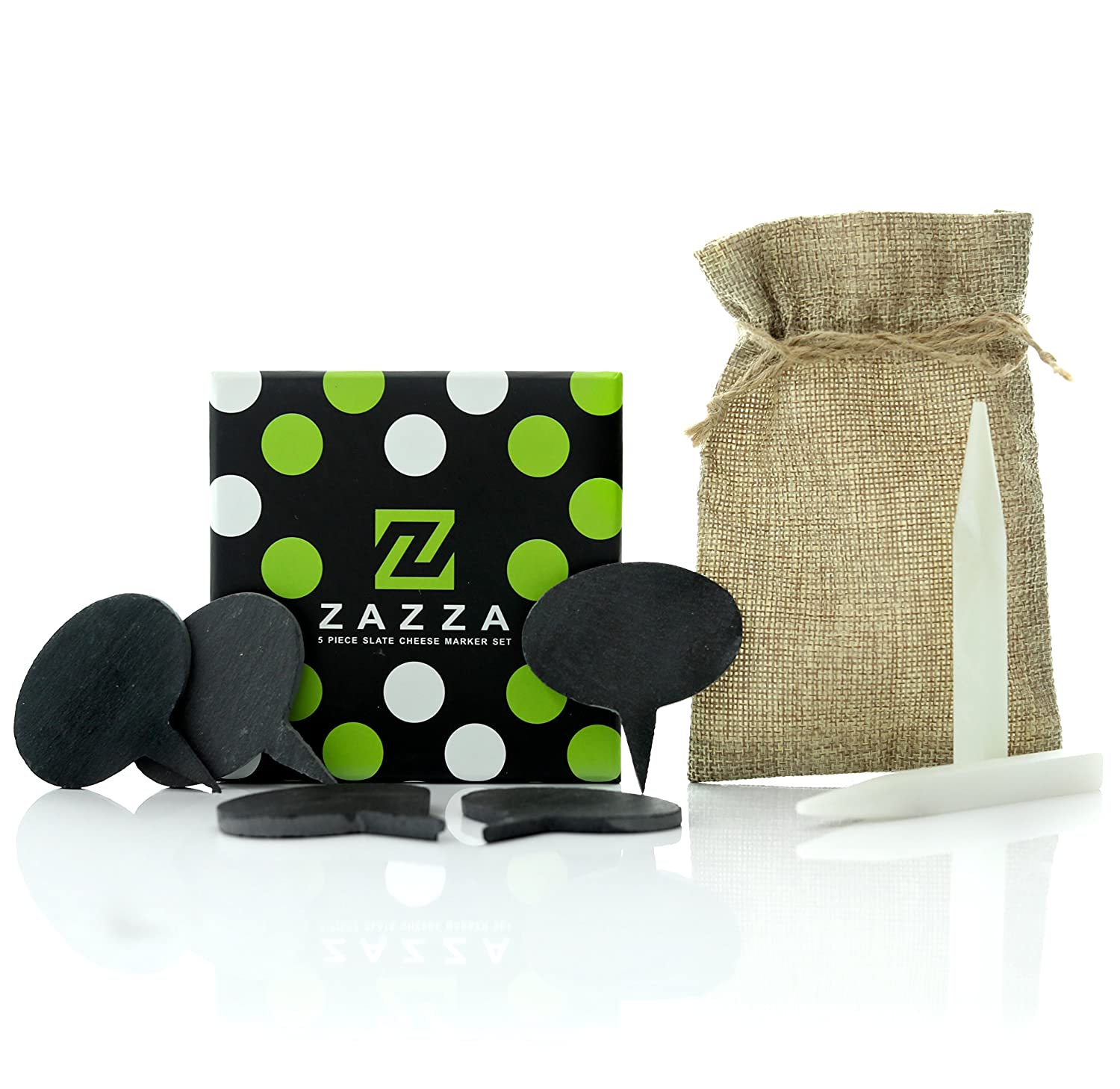 Zazza Cheese Markers Set - 5 Natural Slate Labels for Cheese Boards and 2 Soapstone Chalk
