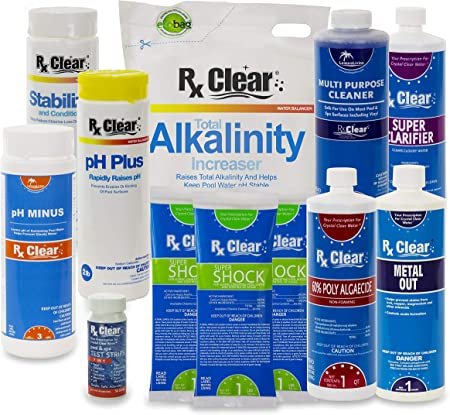 Amazon Com Rx Clear Deluxe Spring Chemical Opening Pool Cleaning Kit For Swimming Pools Up To 7 500 Gallons Includes Shock Clarifier Ph Minus Algaecide And More Keep Your Pool Clean