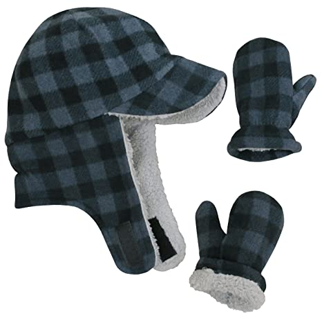 9565599ac57 N Ice Caps Little Boys and Baby Sherpa Lined Fleece Flap Hat Mitten Winter  Set  Amazon.ca  Luggage   Bags