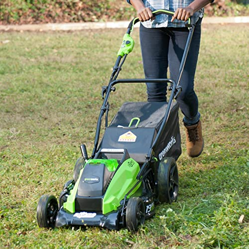 GreenWorks 19-Inch 40V Cordless Lawn Mower, (1) 4Ah (1) 2Ah Batteries and Charger Included 2500502