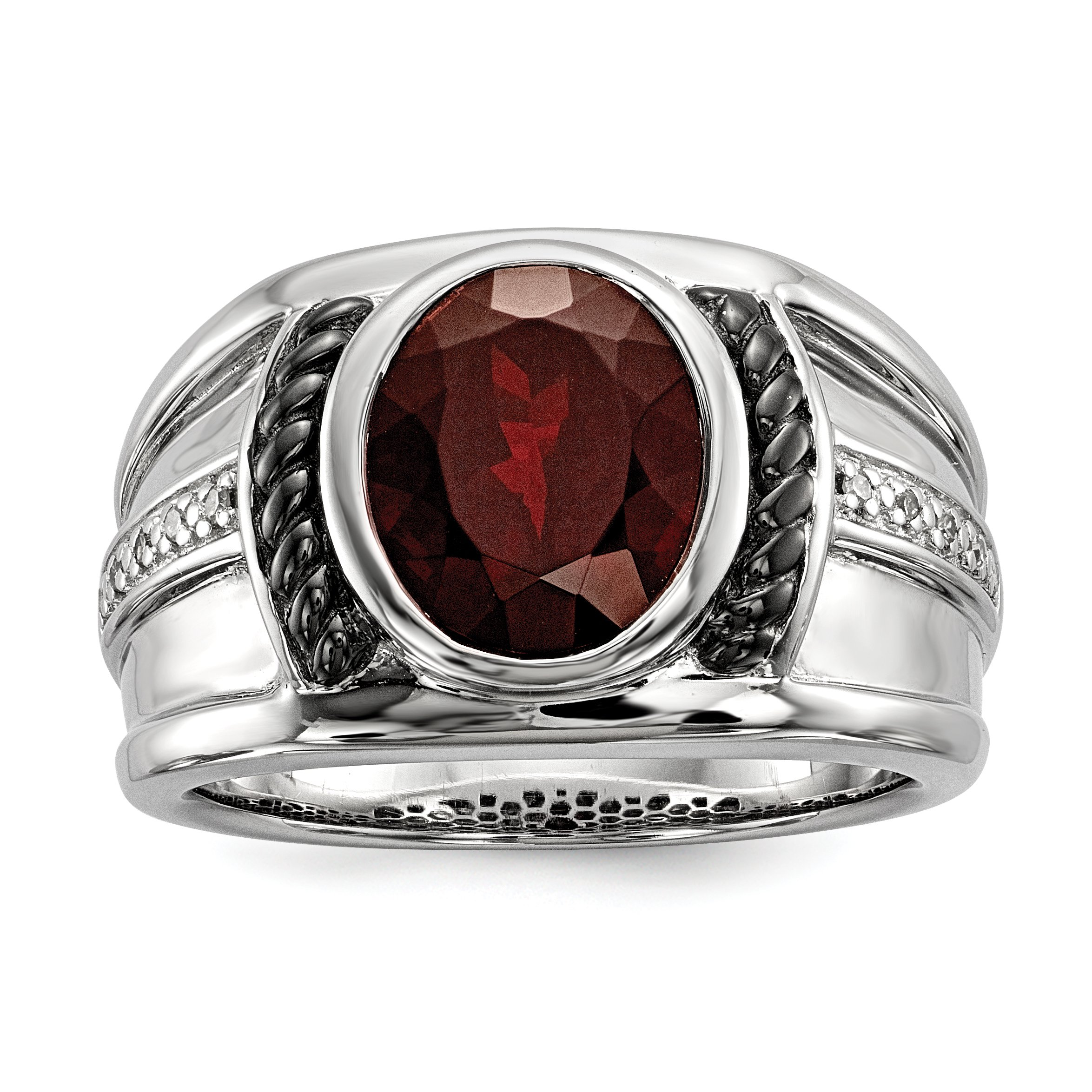 ICE CARATS 925 Sterling Silver Red Garnet Diamond Oval Black Mens Band Ring Size 9.00 Man Fine Jewelry Dad Mens Gift Set