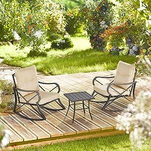 3-PC Backyard Bistro Conversation Set w/Soft Cushions & Aluminum Frame, Beige Outdoor Patio Furniture Sets Patio Furniture Patio Set Table Set