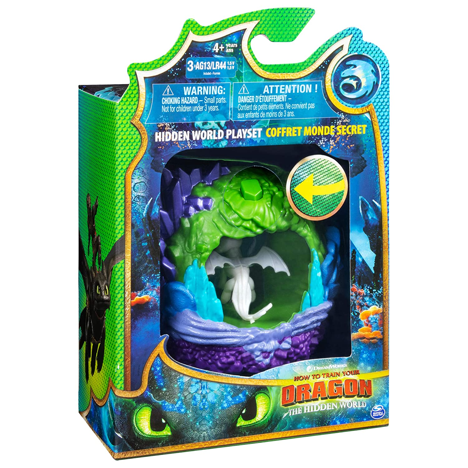 Dreamworks Dragons Hidden World Playset, Dragon Lair with Collectible  Lightfury Figure, for Kids Aged 4 and Up