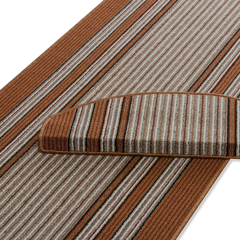 Casa pura Läufer Rost mit Hellem Streifenmuster   Qualitätsprodukt aus Deutschland   Kombinierbar mit Stufenmatten   3 Breiten und 27 Längen (80 x 425cm)