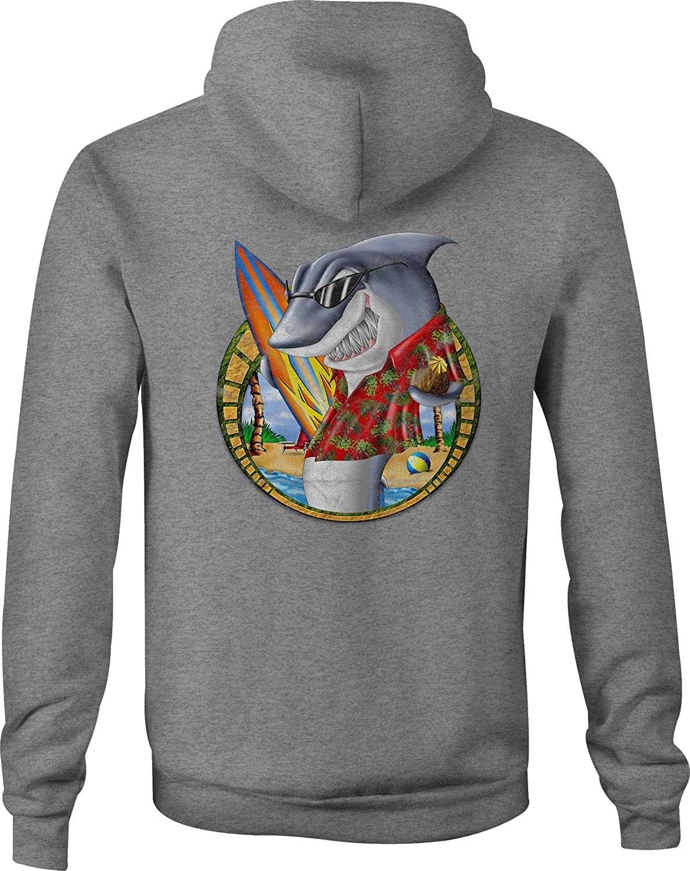 Zip Up Hoodie Beach Shark Sunglasses Hooded Sweatshirt for Men