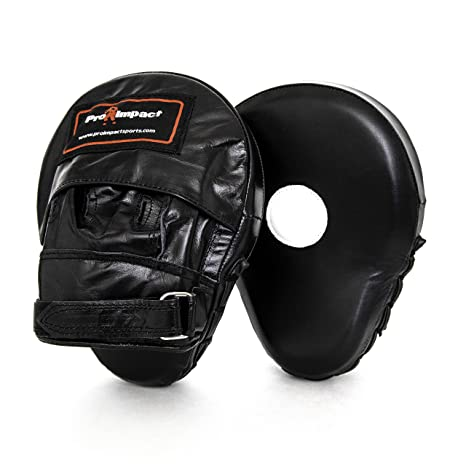 Pro Impact Curved Focus Mitts – Shock Absorbent Training Hand Pads - Ideal  for Karate Boxing MMA Muay Thai or Fighting Sports Training Genuine and PU
