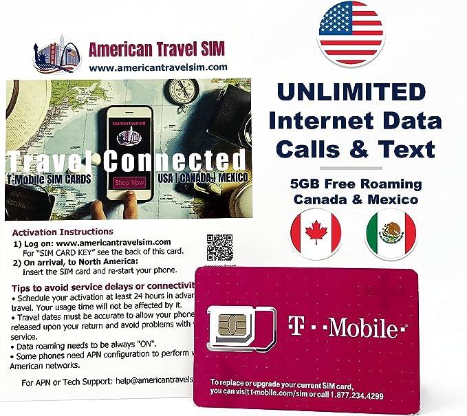 Tarjeta SIM Prepago USA, Canadá & Méjico – INTERNET SIN LIMITES + ...