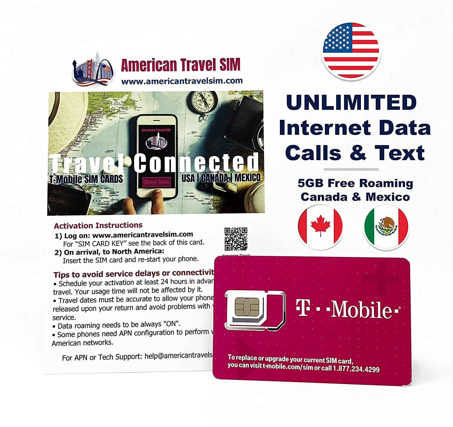 Prepaid Sim Card Unlimited Internet Data Usa 5gb Free Roaming